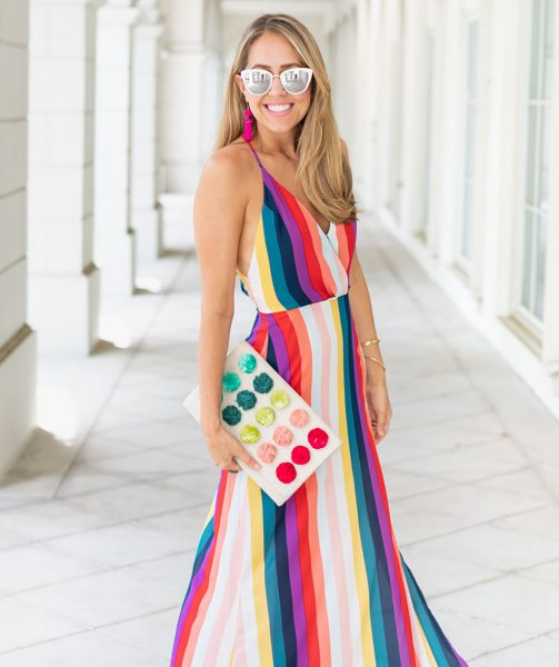 Rainbow maxi dress and clutch