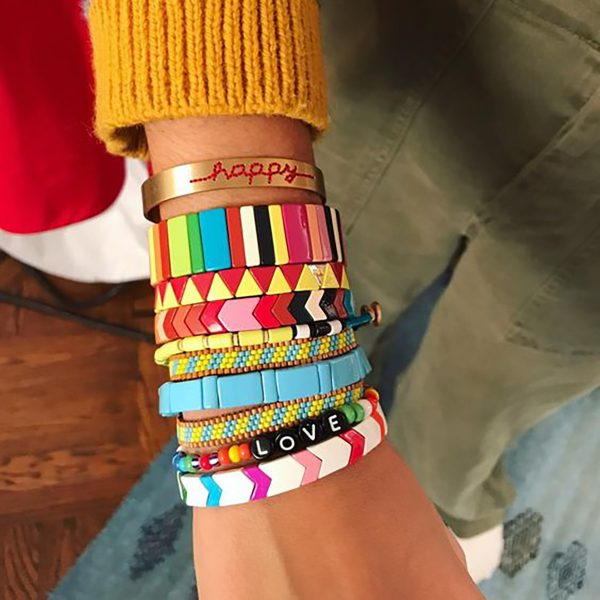 rainbow trend stacked bracelets